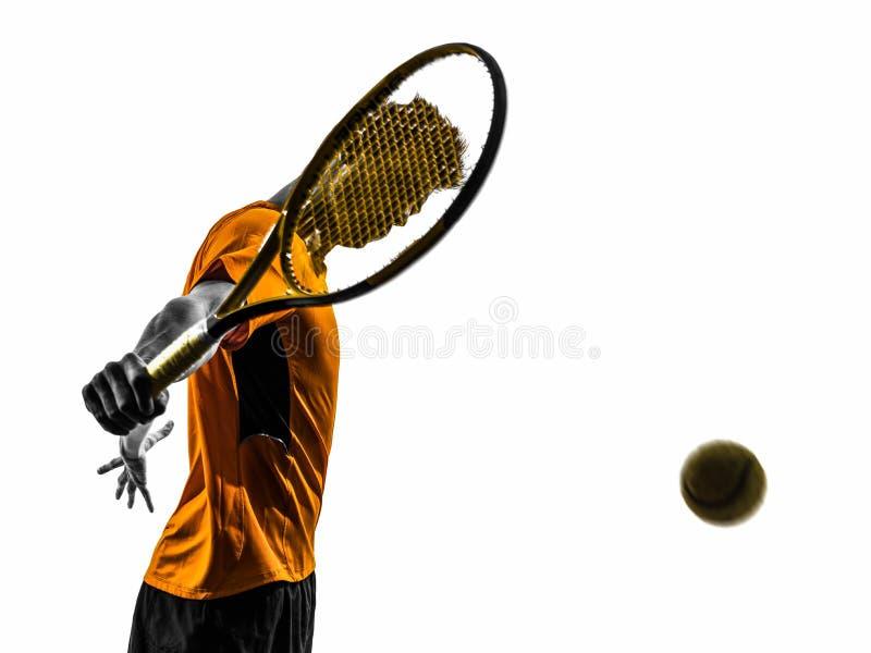 Manntennisspieler-Porträtschattenbild stockfotografie