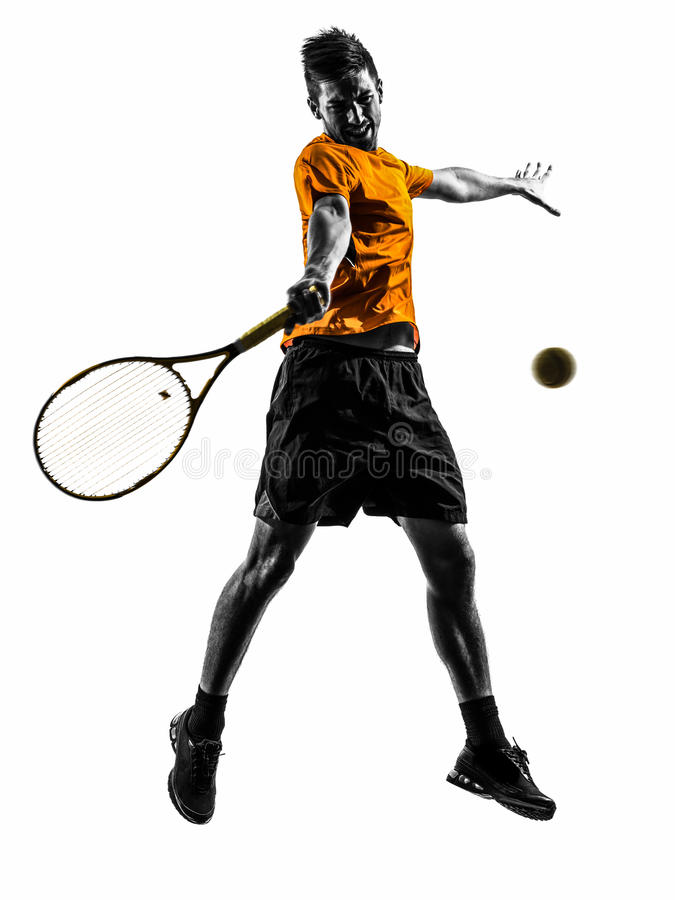 Manntennisspielerschattenbild stockbilder
