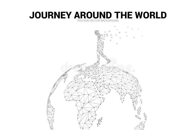 Mannweg auf Weltkarte 3D Kugel wireframe Polygonpunkt schließen Linie an: Konzept der Reise, Weltverbindung stockfoto