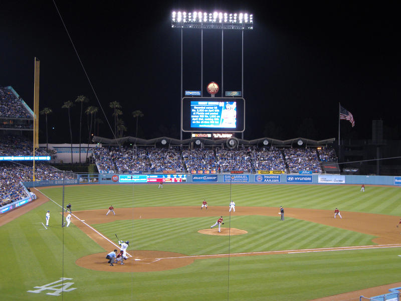 Manny Ramirez hits a ball between third and short stock image