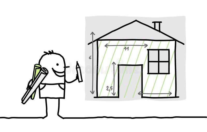 Mannzeichnungs-Hausplan lizenzfreie abbildung