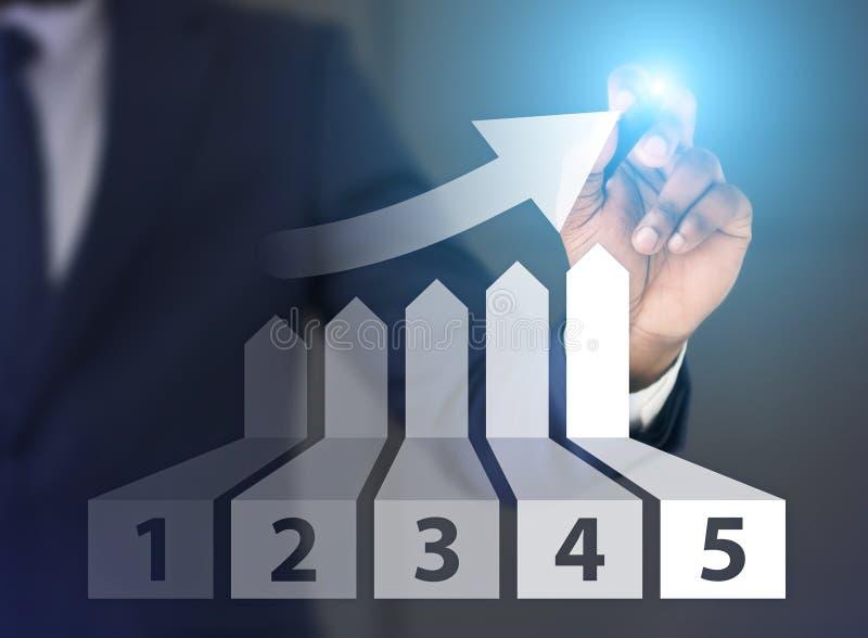 Mannzeichnungsdiagramm des Wachstums mit fünf Plätzen auf Schirm lizenzfreie stockfotos
