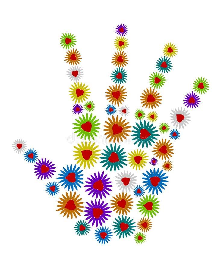 mano 3d de flores coloridas ilustración del vector