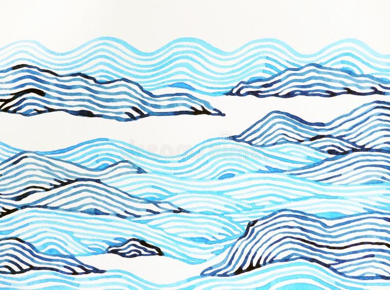 Mano abstracta del paisaje de la pintura de la acuarela de la montaña dibujada stock de ilustración
