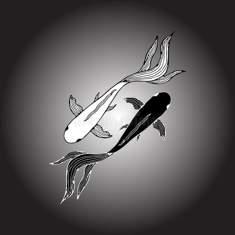 Mano abstracta dibujada de dos pescados de la carpa Pescados dibujados mano del koi Carpa japonesa Visi?n superior libre illustration