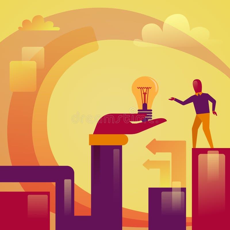Mano abstracta que lleva a cabo concepto de lanzamiento del desarrollo de la idea del hombre de negocios de la bombilla nuevo stock de ilustración