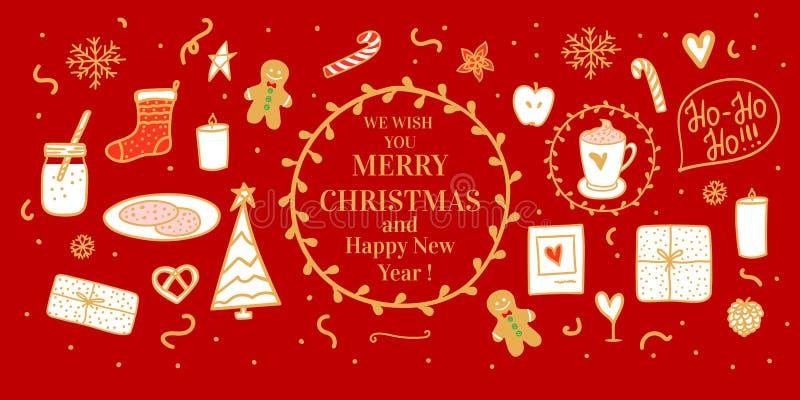 Mano acogedora del oro de la bandera roja dibujada Cacao y galletas de la leche para Papá Noel Humor de la Feliz Navidad del conc libre illustration