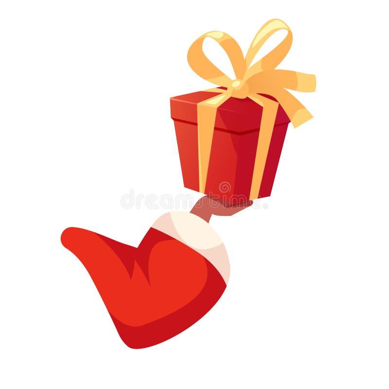 Mano afroamericana de Santas que sostiene la caja de regalo stock de ilustración
