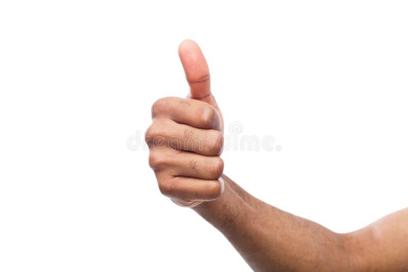 Mano afroamericana que hace el pulgar encima del gesto fotografía de archivo libre de regalías