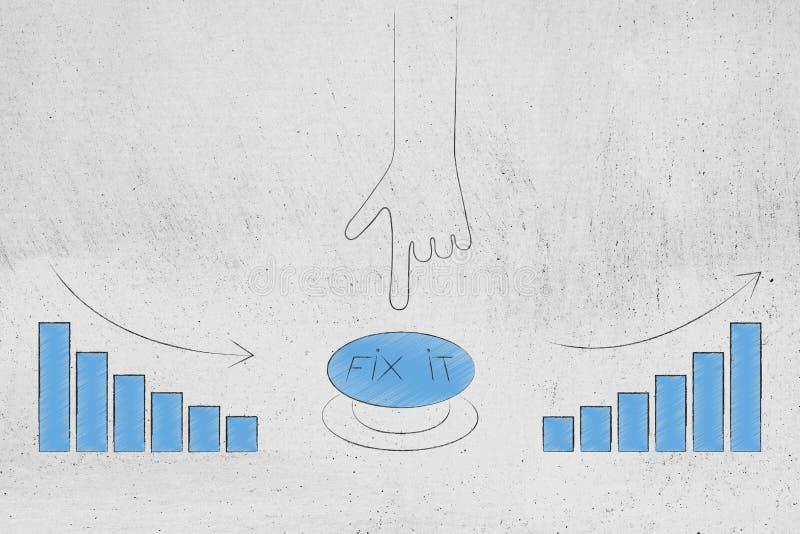 Mano alrededor para empujar arreglo él botón para cambiar el stats de malo al gre stock de ilustración