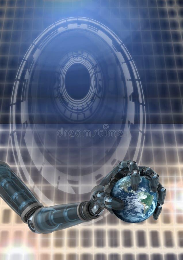 Mano androide robótica y llevar a cabo el interfaz de la tecnología del círculo de la tierra del mundo que brilla intensamente ilustración del vector