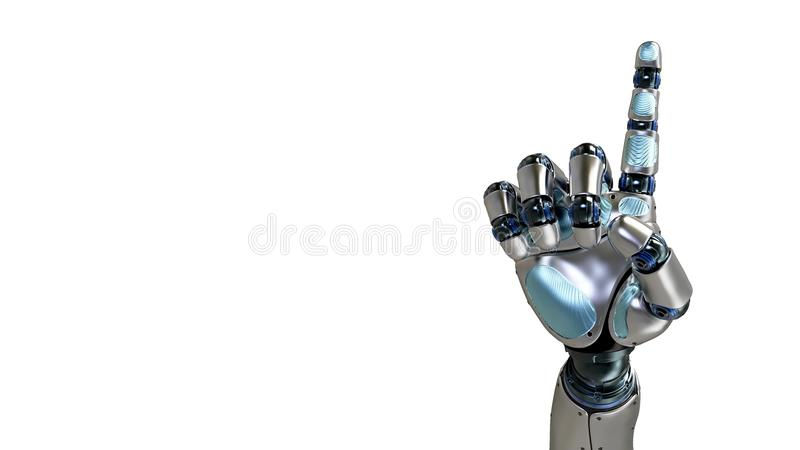 Mano animada del robot que cuenta 1 finger Mano derecha Alpha Channel stock de ilustración