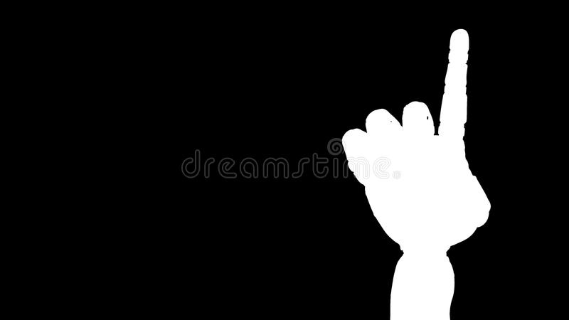 Mano animada del robot que cuenta 1 finger Mano derecha Alpha Channel ilustración del vector