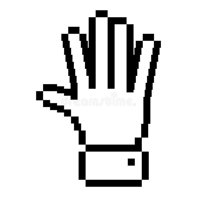 Mano aperta pixelated profilo nero illustrazione di stock