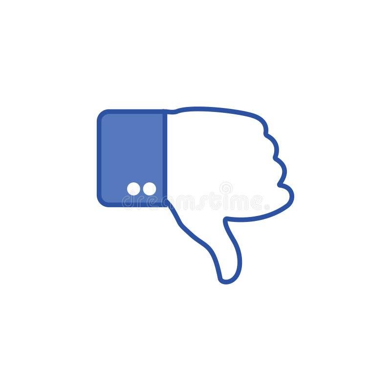 Mano azul del botón con el finger del pulgar abajo Icono social Gesto de mano Gesto de la aversión La mano muestra el gesto del p ilustración del vector