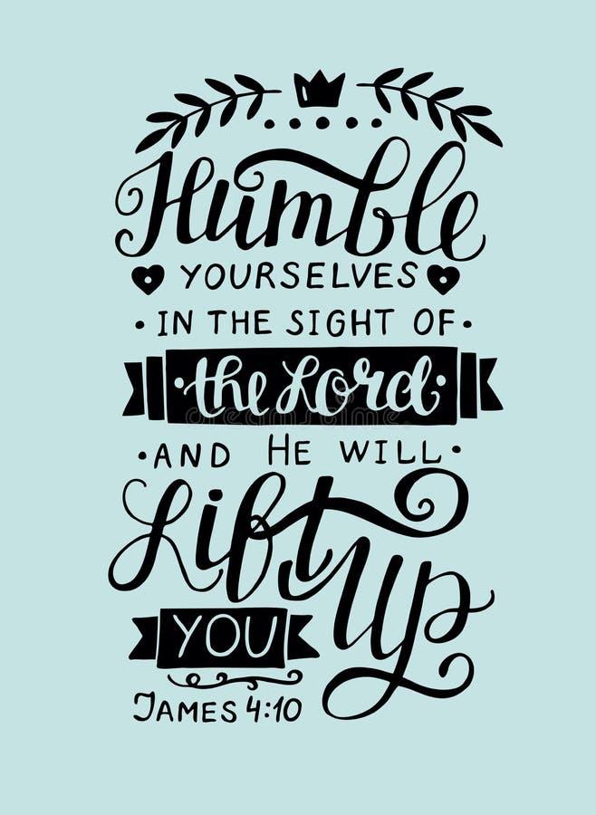 Mano bíblica el poner letras humilde usted mismo en la vista del señor stock de ilustración