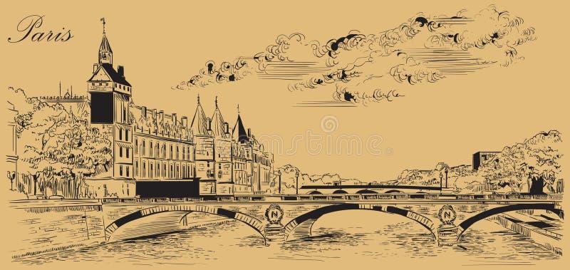 Mano beige del vector que dibuja París 5 libre illustration