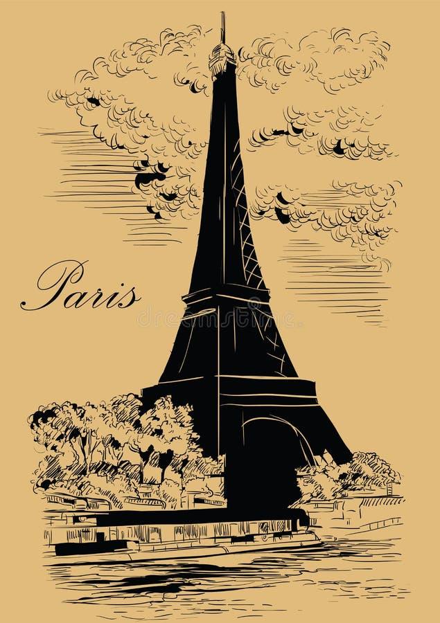 Mano beige del vector que dibuja París 1 stock de ilustración