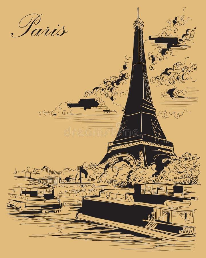 Mano beige del vector que dibuja París 3 libre illustration