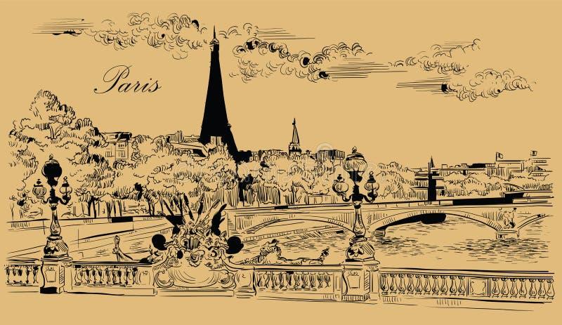 Mano beige del vector que dibuja París 8 libre illustration