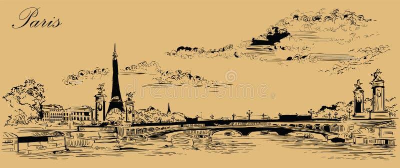 Mano beige del vector que dibuja París 4 ilustración del vector