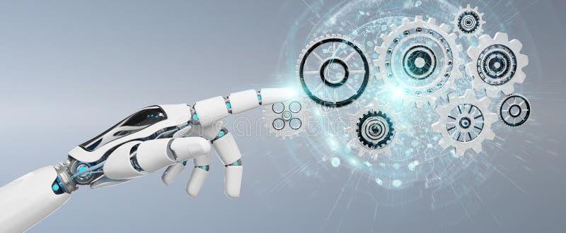 Mano bianca del robot di umanoide facendo uso della rappresentazione digitale degli ingranaggi 3D illustrazione di stock