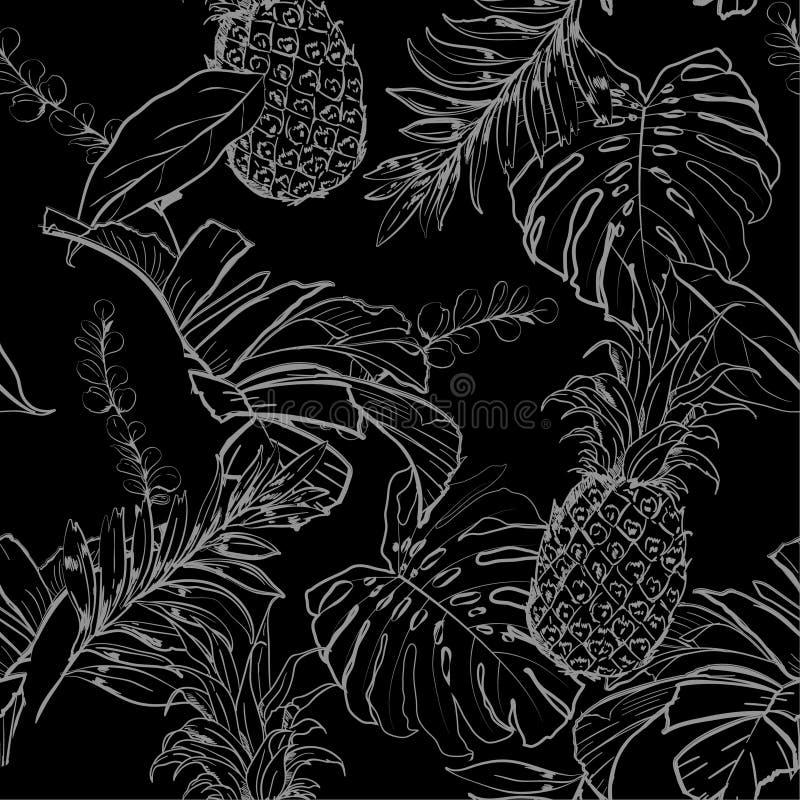 Mano in bianco e nero monotona del profilo di notte di estate che disegna Exoti illustrazione vettoriale