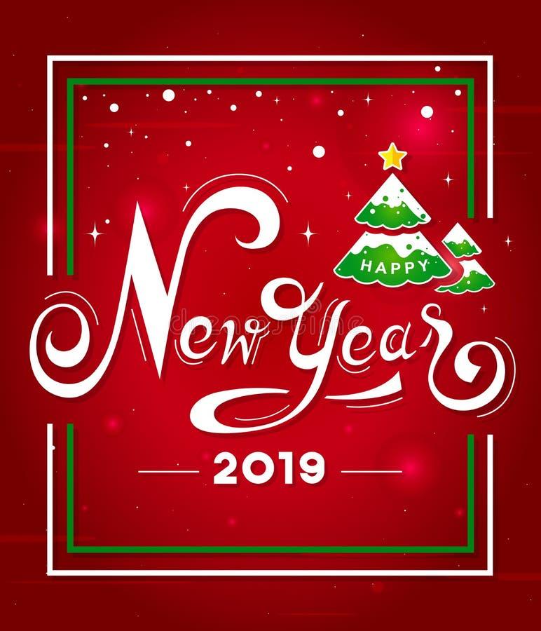 Mano blanca de la Feliz Año Nuevo 2019 que pone letras al texto con el árbol de navidad en fondo rojo Diseño de la tarjeta de fel ilustración del vector