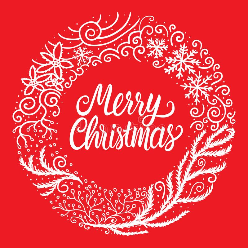 Mano blanca de la Feliz Navidad dibujada poniendo letras a la inscripción del texto Marco redondo del ornamento del ejemplo del v stock de ilustración
