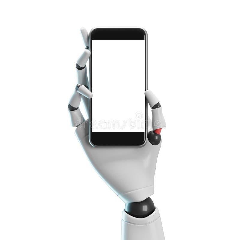 Mano blanca del robot con un smartphone, blanco ilustración del vector