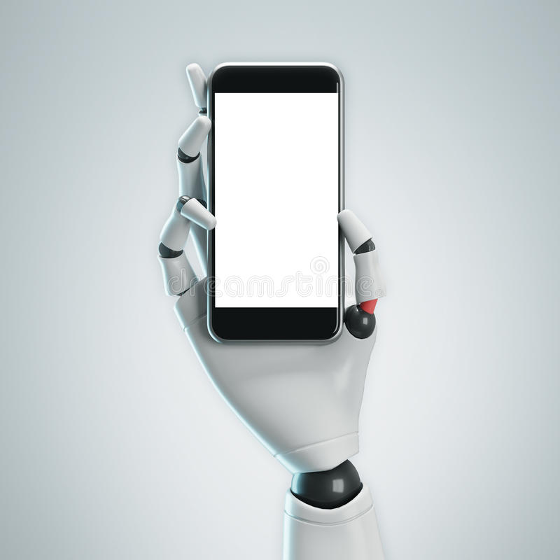 Mano blanca del robot con un smartphone, gris stock de ilustración