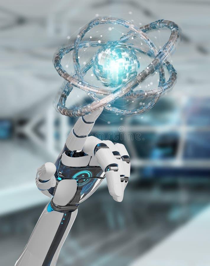 Mano blanca del robot que crea el renderi futuro de la estructura 3D de la tecnología libre illustration