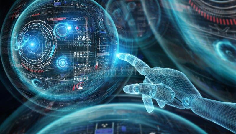 Mano blu del robot di Wireframed che tocca l'interfaccia del grafico sulla rappresentazione scura del fondo 3D illustrazione di stock