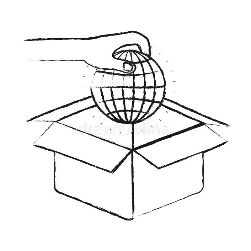 Mano borrosa de la silueta que lleva a cabo una carta del mundo de la tierra del globo para depositar en caja de cartón ilustración del vector