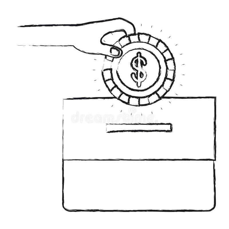 Mano borrosa de la vista delantera de la silueta con la moneda plana con el símbolo del dólar que deposita en una caja del cartón ilustración del vector