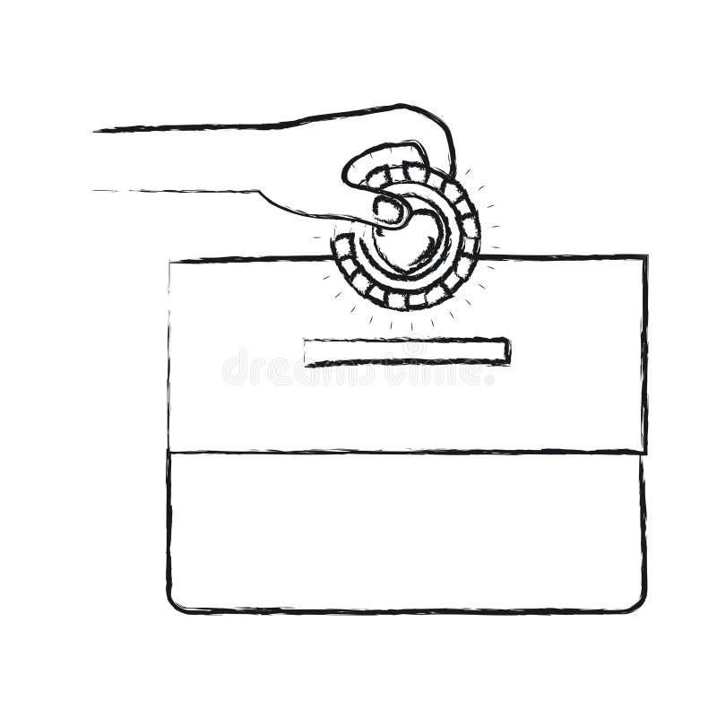 Mano borrosa de la vista delantera de la silueta con la moneda plana con símbolo del corazón dentro del depósito en una caja del  stock de ilustración