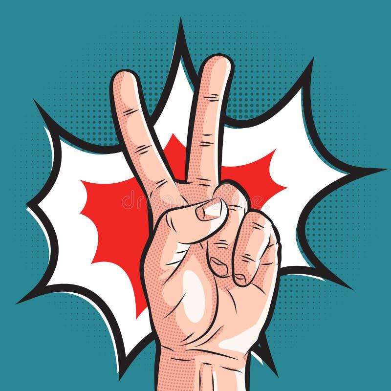 Mano cómica que muestra gesto de la victoria signo de la paz del arte pop en el fondo de semitono ilustración del vector