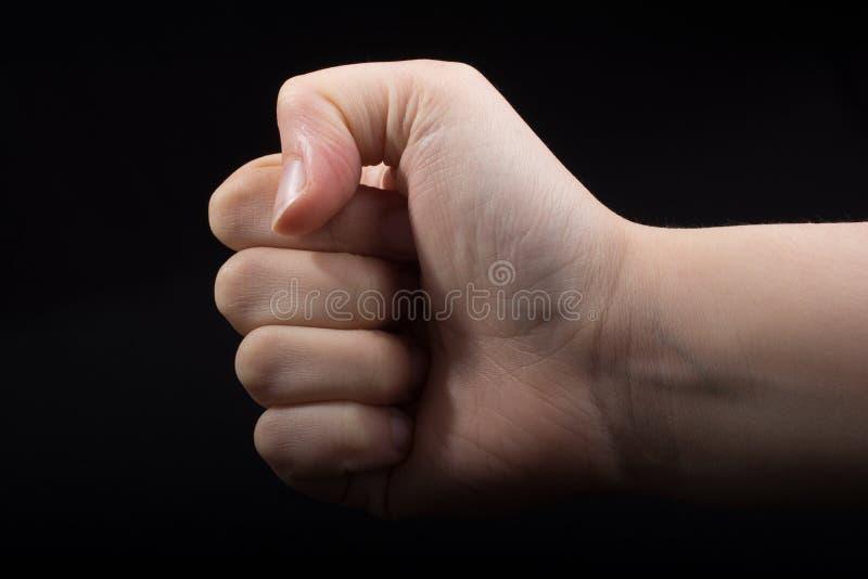 Mano cerrada para un gesto del puño imagen de archivo libre de regalías