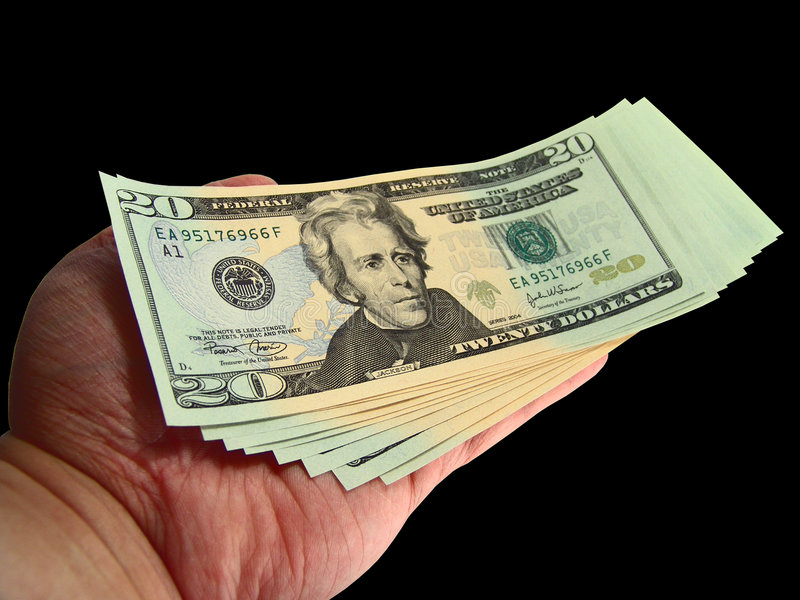Mano che dà valuta degli Stati Uniti immagini stock
