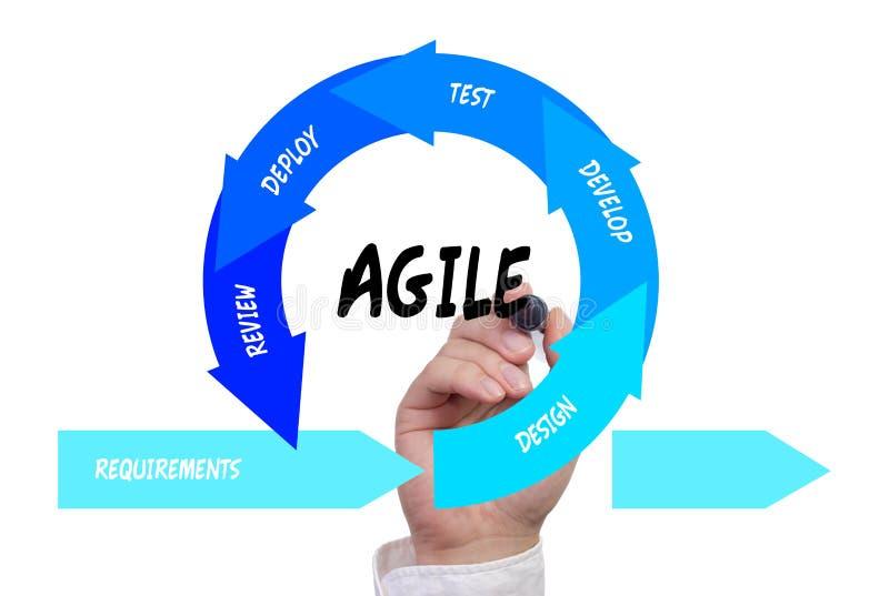 Mano che disegna il ciclo di vita agile di sviluppo di software immagine stock libera da diritti
