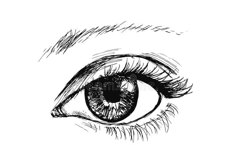 Mano che disegna l'occhio illustrazione di stock