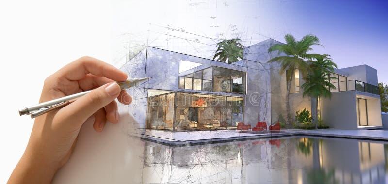 Mano che disegna una villa del progettista con lo stagno immagine stock