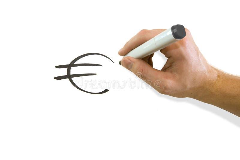 Mano che dissipa euro simbolo immagine stock