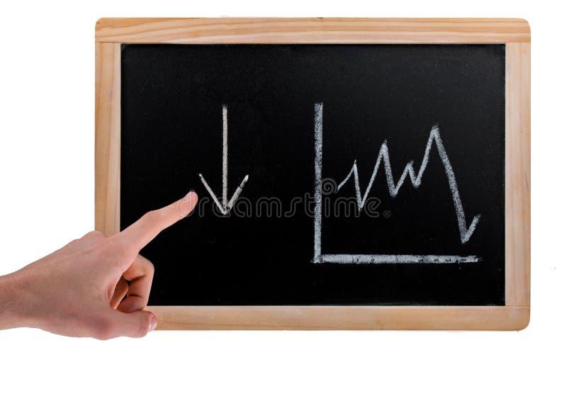 Mano che indica per scolarsi freccia ed il diagramma di valore su una lavagna su fondo bianco immagini stock libere da diritti