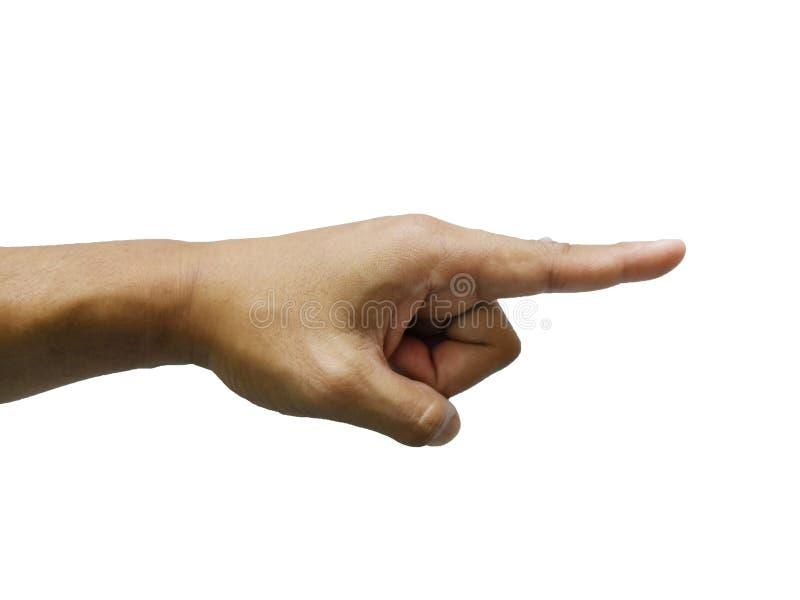 Mano che indica, vi scelgo, io vi voglio, noi vi voglio che indicate il dito su fondo bianco Percorso di ritaglio immagini stock