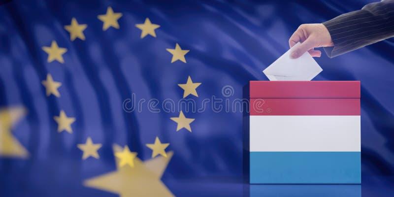 Mano che inserisce una busta in un'urna della bandiera del Lussemburgo sul fondo della bandiera di Unione Europea illustrazione 3 illustrazione vettoriale