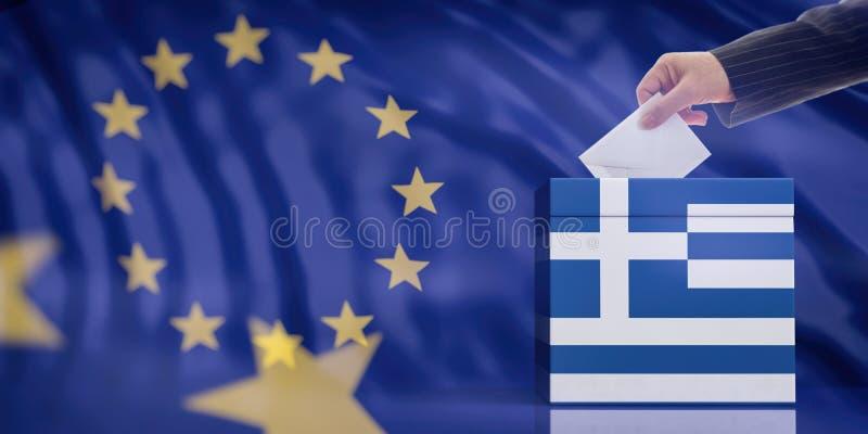 Mano che inserisce una busta in un'urna della bandiera della Grecia sul fondo della bandiera di Unione Europea illustrazione 3D fotografie stock libere da diritti