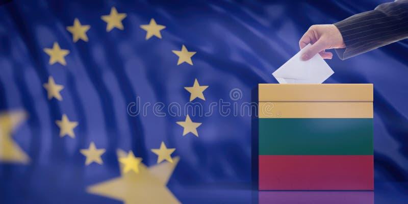 Mano che inserisce una busta in un'urna della bandiera della Lituania sul fondo della bandiera di Unione Europea illustrazione 3D royalty illustrazione gratis