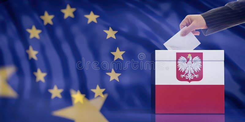 Mano che inserisce una busta in un'urna della bandiera della Polonia sul fondo della bandiera di Unione Europea illustrazione 3D illustrazione vettoriale