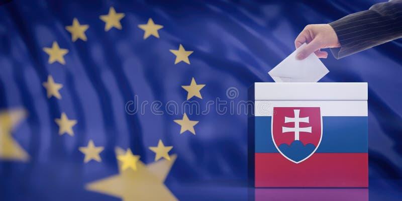 Mano che inserisce una busta in un'urna della bandiera della Slovacchia sul fondo della bandiera di Unione Europea illustrazione  royalty illustrazione gratis